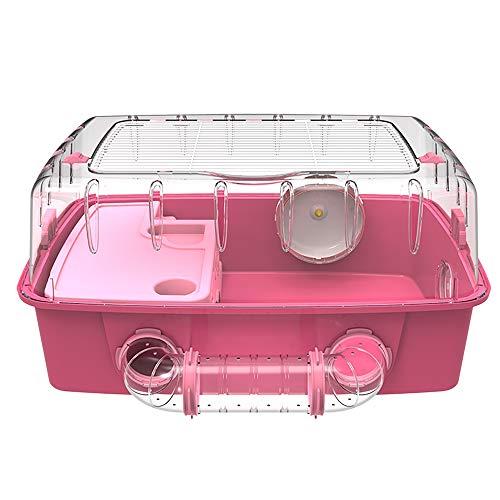 NJSD Hamsterkäfig, Hamstervilla in Übergröße, Frei Durch Den Tunnel Verbunden, Austauschbare Türverkleidung, Geeignet Für Kleine Haustiere Wie Hamster,Pink