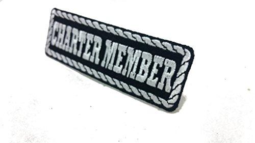 Patches MC Club Abzeichen Schwarz-weiß und rot-schwarz Colour gestickt (Charter Member Schwarz-weiß) (Schwarz Jeans Washington)