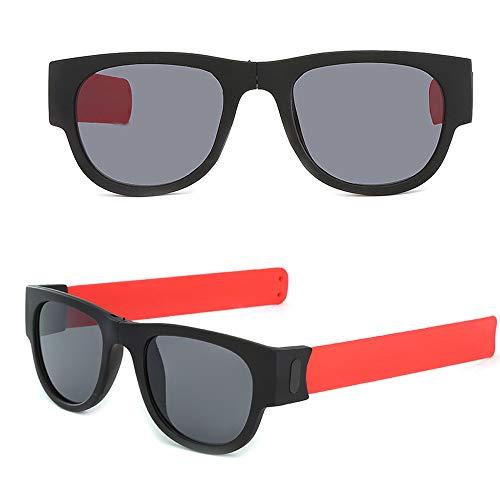 LCLrute Kreative Armband Brille Polarisierte Sonnenbrille Schutzbrillen Snap Bracelet Bands (Rot)