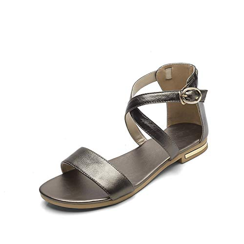 Women 2019 hot Summer Cow Leather Flat Sandals Womens Fashion Ladies Ankle warp Sandal Woman sexy Casual Flats Party Shoes xiangbingse 9