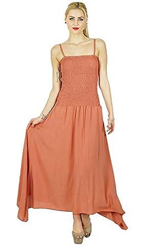 Robe d'été Bimba Femmes Long Maxi Dress smocks taille Top Spaghetti Strap Casual