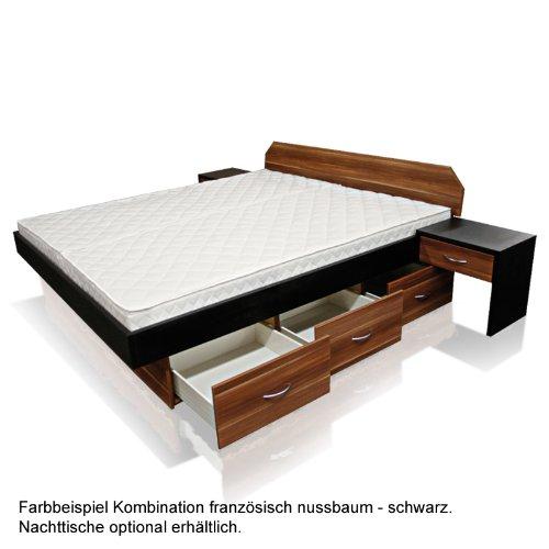 SONDERAKTION bellvita Mesamoll II Wasserbett mit Schubladensockel in Komforthöhe und Bettumrandung französisch nussbaum mit schwarz kombiniert, mit Aufbau, ALLE Größen frei wählbar, auch 200 cm x 220 cm
