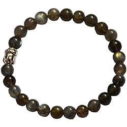 aatm Reiki energía regalo Natural Gemstone 7–8mm Redondo perlas Buda cuentas Labradorita Gemstone Chakra elástico pulsera Unisex para la curación (piedra de poder, la positividad, protección)