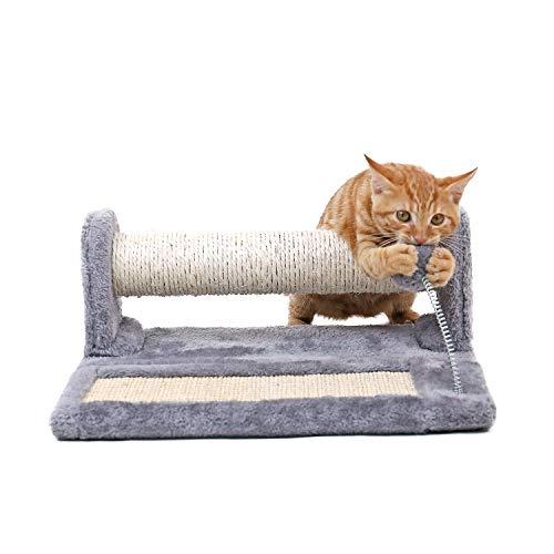 OHANA Soporte y cojín para rascar con Juguetes para Gatos Pelota de Juego para la Primavera, Tabla y Poste para rascar de los Gatos Plegables (2 en 1), sisal Completo y Felpa Cubierta: Gris