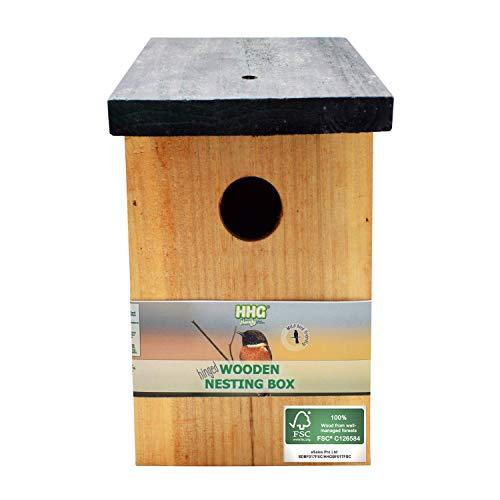 1 x handy home and garden nido di uccello/casa per uccelli in legno trattato a pressione per uccelli selvatici e da giardino - realizzato con legno fsc 100%, foreste ecosostenibili sostenibili