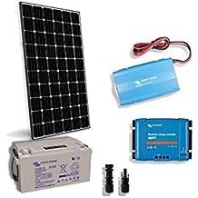 PuntoEnergia Italia - Kit Solar Cabina Lux 300W 12V Placa Inversor 1000W Regulador Bateria 130Ah -