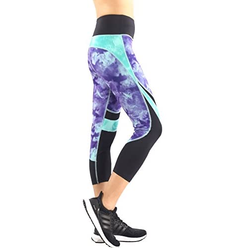 41C7b75jNYL. SS500  - Zinmore Women's Printed Capri Yoga Pants Workout Leggings Exercise Sports Pants