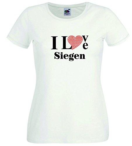 T-Shirt I Love Siegen mit einer Strassaplikation / Strassherz Weiß