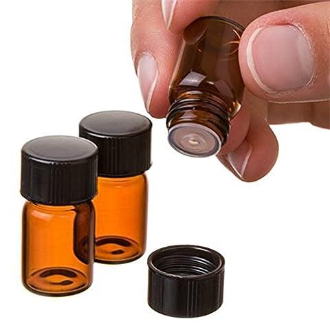 2ml Mini Bouteilles Ambre Flacon d'huile essentielle en verre avec orifice Réducteur et bouchon noir pour huiles essentielles Chimie Lab produits chimiques et parfums 12