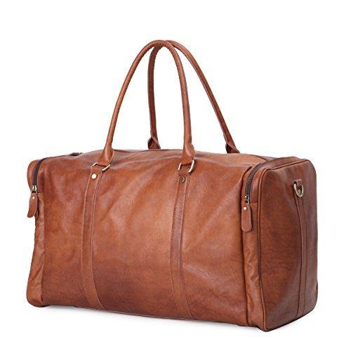 Leathario Herren Leder Reisetasche Weekender Handgepäck Umhängetasche Reisegepäck Handtasche Schultertasche Reisetasche Retro (Große Pda-fall)