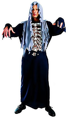 Inception pro infinite ♛ taglia unica - costume travestimento carnevale e halloween da scheletro zombi mostro morte ossa colore nero con cappuccio adulti uomo ragazzo