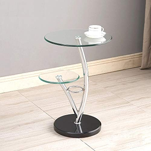 CRRQQ Mode Tisch Gehärtetes Glas Beistelltisch/Schlafzimmer Nachttisch/Blume Stand/Pflanzenstand/Wohnzimmer Ständer / 24,8x15,74 Zoll (Color : B) - Kirsche Wohnzimmer Beistelltisch