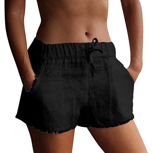 Vectry Damen Hosen Shorts Sommer Hotpants Bermudas Ultra Jeans Leggings Strand Laufgymnastik Yoga Der Sporthosen Schlafanzughosen - Cotton Einfarbig Mid Waist Loose Drawstring Waist Shorts (Pailletten-shorts High-waisted Silber)