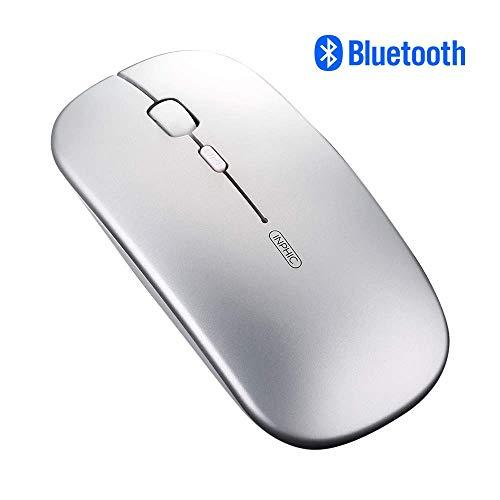 Inphic - Ratón inalámbrico con Bluetooth para Ordenador portátil (800/1200/1600 dpi Ajustable, inalámbrico, para tabletas, Windows Mac OS, Color Plateado)