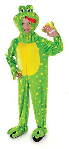 4Frosch Plüsch mit Kopf Kostüm, Mittel, 128cm, Alter: ca. 5–7Jahre, Frosch Plüsch mit Kopf (128cm) (Kid Frosch Kostüm)