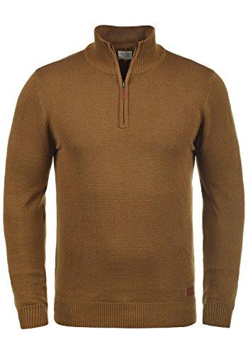 Blend Robin Herren Strickpullover Troyer Feinstrick Pullover Mit Stehkragen Und Reißverschluss, Größe:L, Farbe:Dark Mustard (75116)