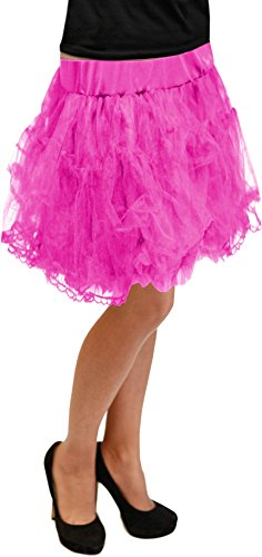 Petticoat 50cm Grösse S - XXXL 12 Farben Unterrock Skirt Vintage Karneval (Pink)