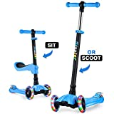 GOOGO 2 in 1 Scooter for Kids 3 Wheel Kick Scooter with Removable