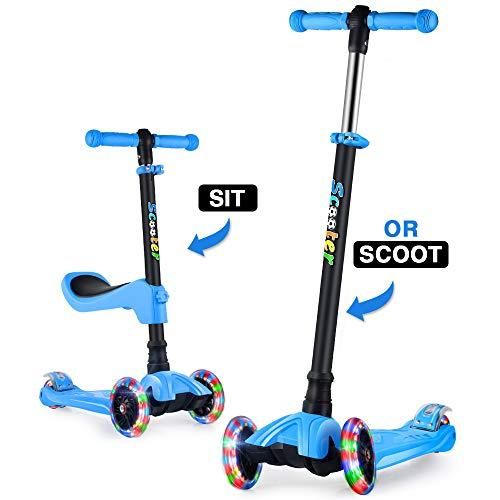 GOOGO Kinderscooter Dreirad Scooter mit Abnehmbaren Sitz, Kinderroller mit 3 PU LED Rädern für Kleinkinder Jungen Mädchen ab 2 Jahre (Blau)