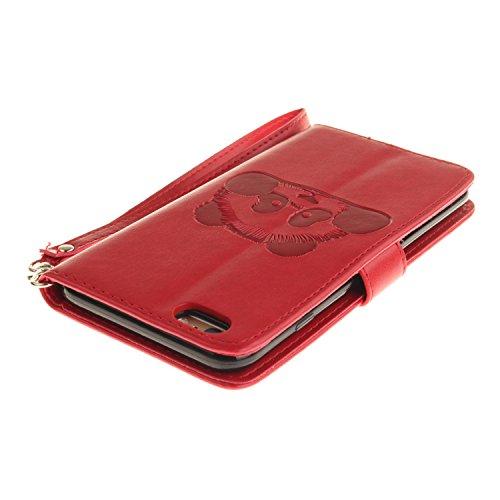 PU für Apple iPhone 6 (4.7 Zoll) Hülle, Prägen Panda Handyhülle / Tasche / Cover / Case für das Apple iPhone 6 (4.7 Zoll) PU Leder Flip Cover Leder Hülle Kunstleder Folio Schutzhülle Wallet Tasche Etu 9