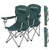 SONGMICS GCB08GN - Set di 2 sedie da campeggio, pieghevoli, comode, con struttura robusta, portata fino a 150 kg, con portabottiglie, per esterni, verde scuro