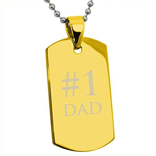 Placcato Oro Acciaio inossidabile # 1 DAD (Il Numero 1 Papà) Inciso Medaglietta di Riconoscimento Dog Tag Pendente