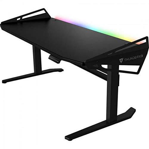 ThunderX3 AD7LHEX AD7LHEX-Mesa Gaming con iluminación RGB y Altura Ajustable, Negro, 168cm