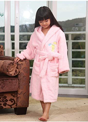 Nachtschlafanzug Bademäntel für Kinder aus langstapeliger Baumwolle mit Kapuze (Farbe: Pink, Größe: S) Home Nachtwäsche (Farbe : Pink, Größe : Small)