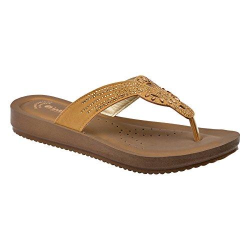 INBLU Branded Sandal Chappal for Women | Colour Brown| Camel | Flat Design Chappal for Women | chappals for Womens | Ladies Sandal | Footwear for Womens | Ladies Footwear | Size 6