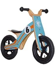 "Bici aprendizaje Rebel Kidz Wood Air madera, 12"", Le Mans azul/naranja"