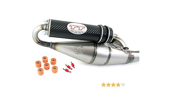 Leovince TT Rot Tuning Sport Auspuff kompatibel mit Peugeot Speedfight 3 4 // Jetforce C-Tech 50ccm 2-Takt