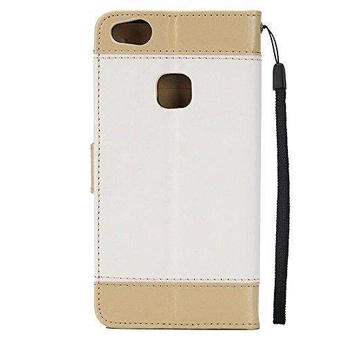 Dual Color Matching Premium PU Leder Flip Stand Case Cover mit Card Cash Slots und Lanyard für Huawei P10 Lite ( Color : Blue ) White