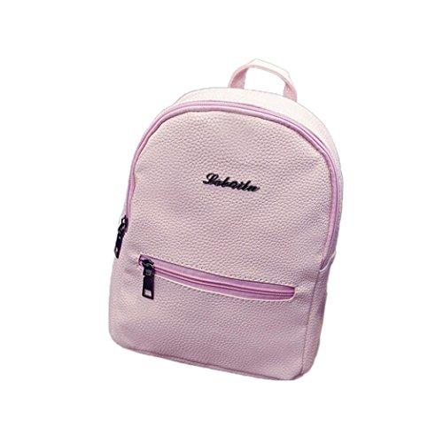 Subfamily Mädchen Leder Schule Bag Reiserucksack Tasche Frauen Schulter Rucksack Schultertasche Umhängetasche Brusttasche Einfach Tragbar Modische Damentasche Kleine Backpack als Geschenk (Rosa)