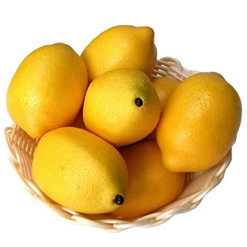 Xiangze 6 x künstliche Limetten Zitronen Deko-Schaumstoff künstliche Frucht-Imitation Heimdekoration (Gelb) (Künstliche Limetten Und Zitronen)
