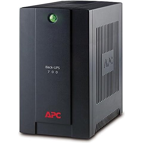 APC Back-UPS BX 700VA - BX700UI - Sistema de alimentación ininterrumpida SAI - 4 salidas tipo IEC, AVR, USB, software de apagado