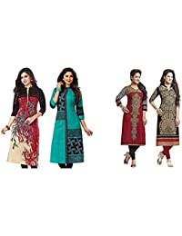 Jevi Prints Women's Dress Material (Pack of 2)(Kavya-1207-Saheli-1512&Saheli_1204_1225_Item 1 Color Multi-Coloured|Item 2 Color Black_Free Size)