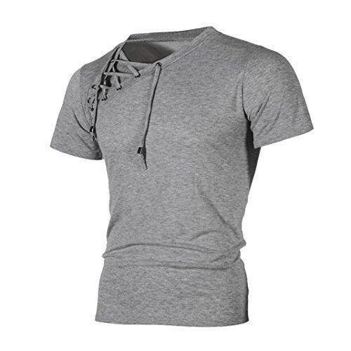 T-Shirts,Honestyi 2018 Neueste Modell Frühling Sommer Mode Persönlichkeit Bandage Herren Beiläufig Schlank Kurzarm Hemd Einfarbig T-Shirt Top Bluse Sweatshirt Oversize M-XXXL (XL, Grau)