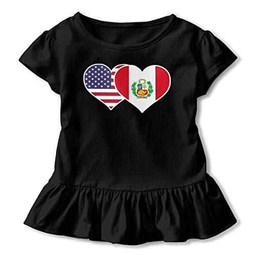 Little Girls' American Peru Flag Heart Funny Short Sleeve Ruffle T Shirt - American Heart Baby T-shirt