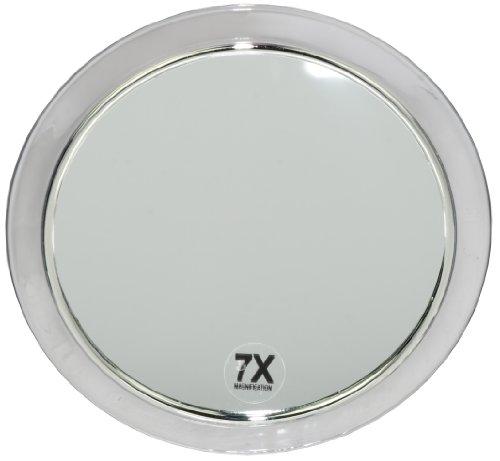 Fantasia - specchio con 3 ventose, acrile con anello d'argento, ingrandimento 7x, diametro: 19 cm