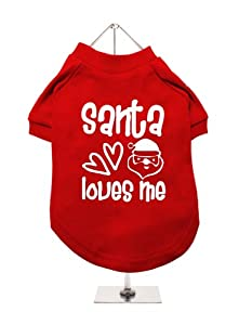 ''Christmas: Santa Loves Me'' UrbanPup Dog T-Shirt (Red / White)