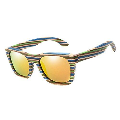 Homyl Sonnenbrille - Damen Herren Holz - Brille mit Bambus Bügeln - Holzbrille - unterschiedliche Farben - Orange