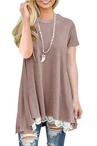 NICIAS Damen Sommer Kurzarm T-Shirt Pullover Rundhals Spitze Tunika Top Lässige Oberteil Bluse Shirt Braun M