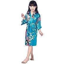 Hibote Bata de Baño con bBata de Pavo Real y Bata de Kimono de Satén para