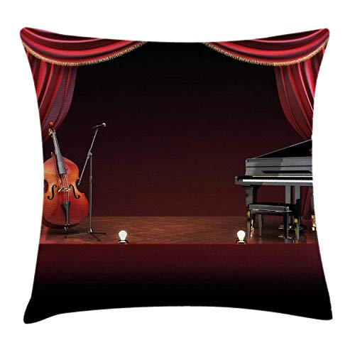 Happy Sunday Musical Theatre Home Decor Throw Pillow Cushion Cover, Orchestra Symphony Theme Stage Curtains Piano Cello, Decorative Square Accent Pillow Case, 16 X 16 Inches, Burgundy Brown Black (Cello Soft Case)
