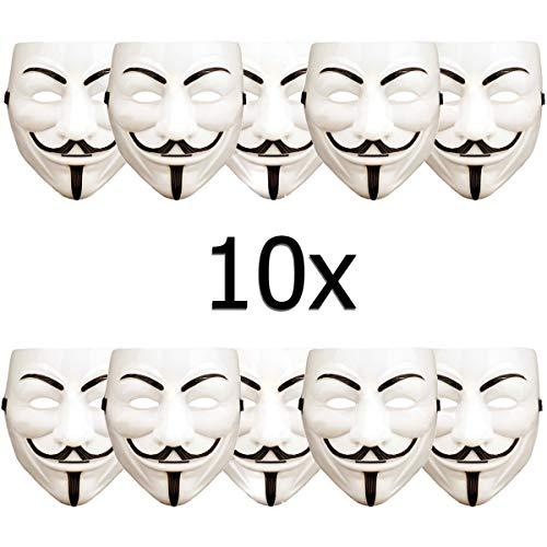 10 Stück V wie Vendetta Maske, Guy Fawkes Maske, Anonymous Maske, weiß