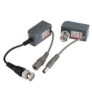 Paire Emetteur Récepteur Câble BNC RJ45 Vidéo Audio Balun Transceiver pour Caméra CCTV