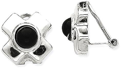 IceCarats 14k White Gold Omega Clip Black Onyx Non Pierced On Earrings
