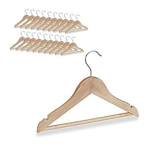 Relaxdays Kinder Kleiderbügel, 20er Set, Hosenstange, Hemd, 360 Grad drehbar, Mädchen, Jungen, Baby Bügel, Holz, natur