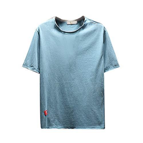 VWsiouev Männer Casual Kurzarm T-Shirts Solide Slim Fit Stretch Rundhalsausschnitt Wicking Baseball T-Shirts - Vorne Stretch Denim