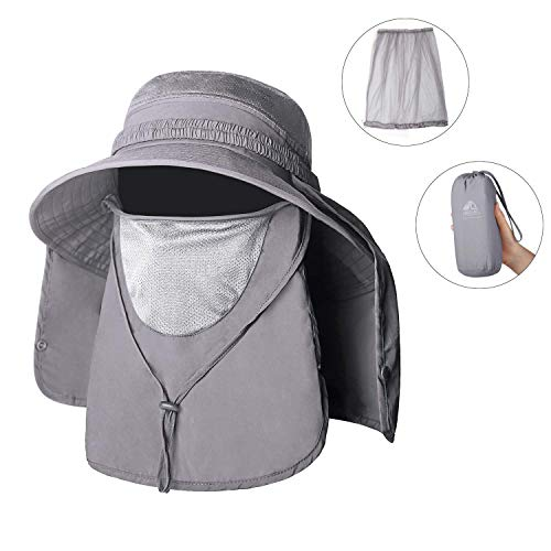 Unigear Sombrero para el Sol Gorro Pescador Anti-UV UPF50+ Gorra Pesca Solar ala Ancha Transpirable Multiusos con Velo y Mosquitera Protección Cuello Al Aire Libre (Gris)